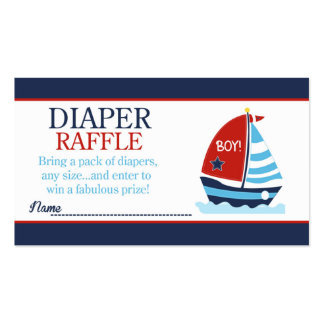 Red and Blue Sailboat Baby Shower Diaper Raffle Business Card