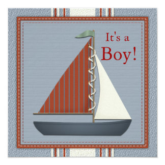 Red and Blue Sailboat Baby Shower Personalized Invite
