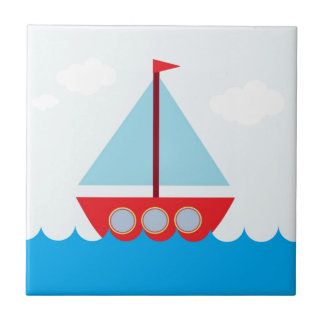 Red and Blue Sailboat on the Sea Tiles