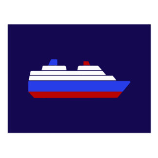 red and blue sea ship postcard