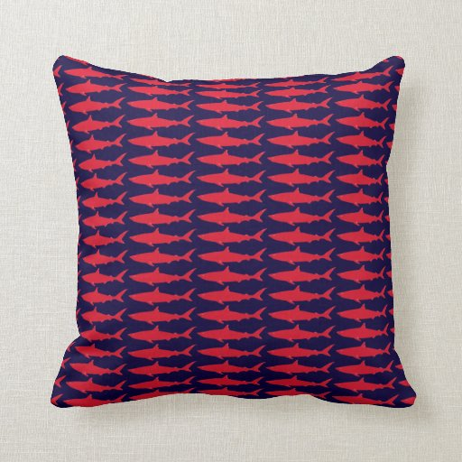 red and blue shark pattern pillows zazzle
