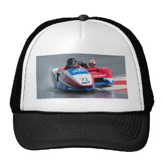 Red and blue sidecar trucker hat
