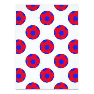 """Red and Blue Soccer Ball Pattern 5.5"""" X 7.5"""" Invitation Card"""