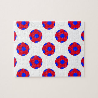 Red and Blue Soccer Ball Pattern Jigsaw Puzzle