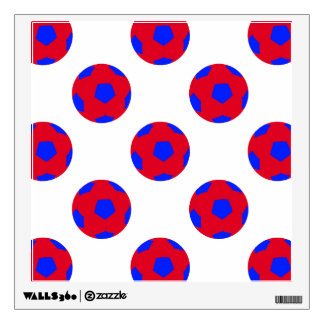 Red and Blue Soccer Ball Pattern Wall Stickers