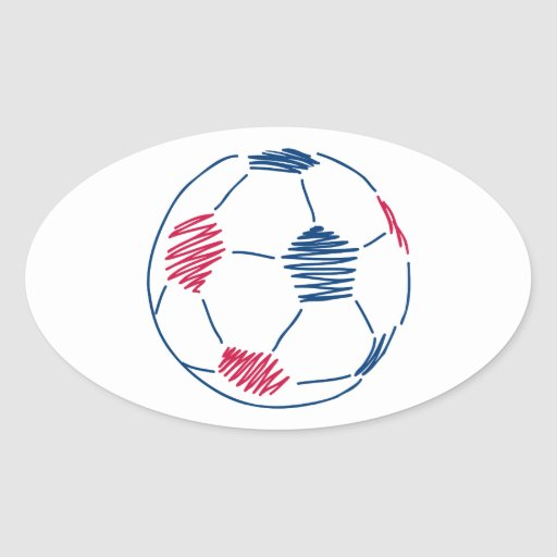 red and blue soccer scribble graphic oval sticker