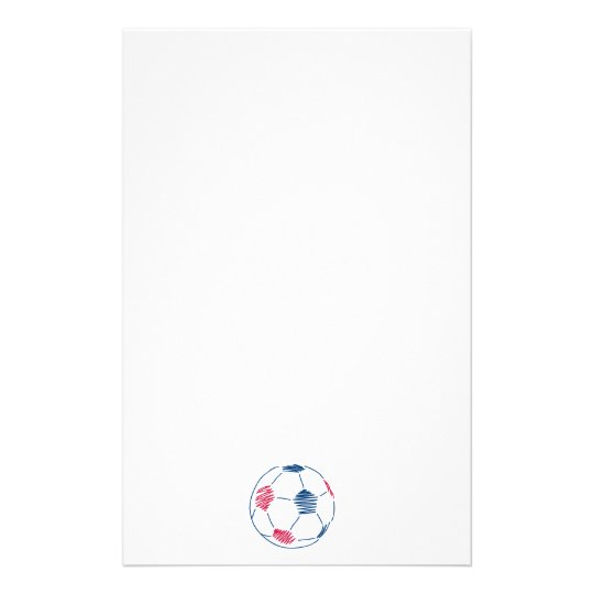red and blue soccer scribble graphic stationery