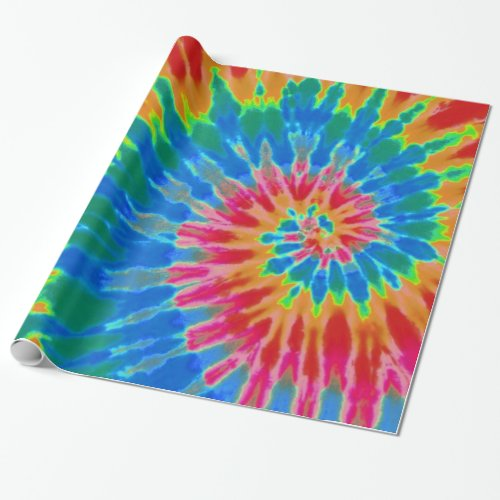 Red and Blue Spiral Tie Dye Wrapping Paper