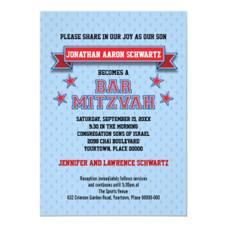 Red and Blue Sports Tackle Twill Bar Mitzvah 5x7 Paper Invitation Card