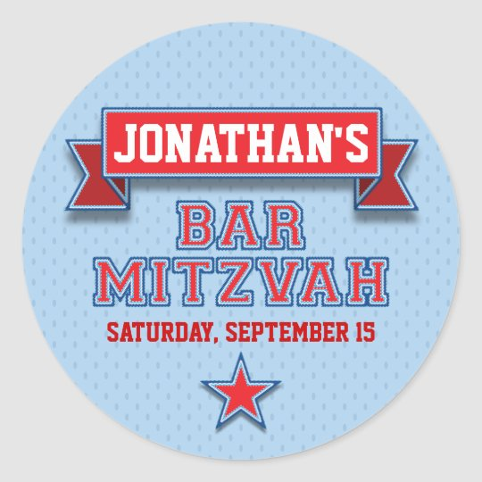 Red and Blue Sports Tackle Twill Bar Mitzvah RSVP Classic Round Sticker