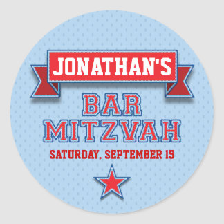 Red and Blue Sports Tackle Twill Bar Mitzvah RSVP Round Stickers