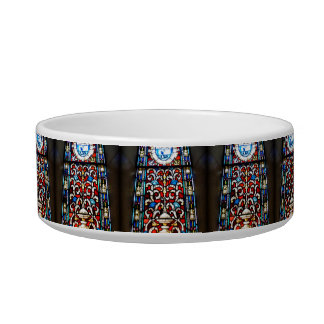 Red and Blue Stained Glass Bowl