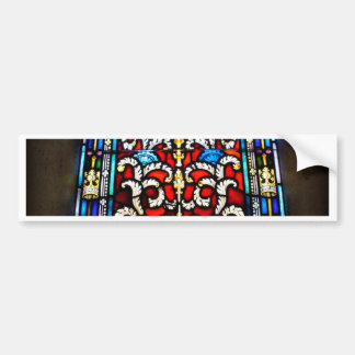 Red and Blue Stained Glass Bumper Sticker