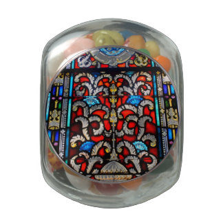 Red and Blue Stained Glass Glass Candy Jar