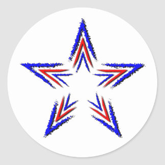 red and blue star classic round sticker