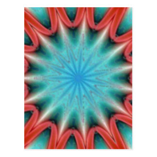 Red and Blue Starburst Postcard