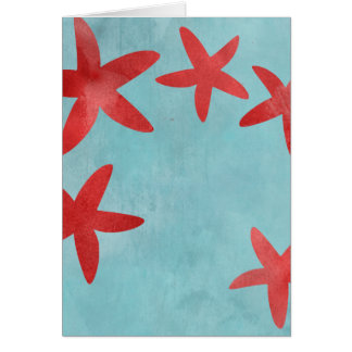 Red and Blue Starfish Card