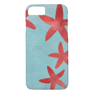 Beach Themed Red and Blue Starfish iPhone 7 Case