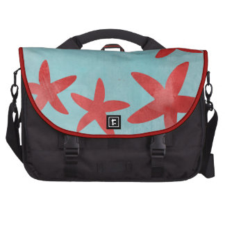 Red and Blue Starfish Laptop Computer Bag