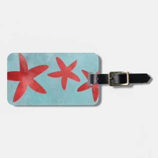 Red and Blue Starfish Luggage Tag
