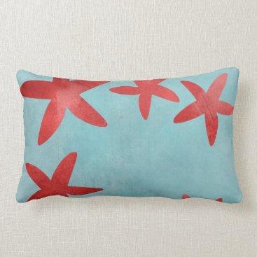 Beach Themed Red and Blue Starfish Lumbar Pillow