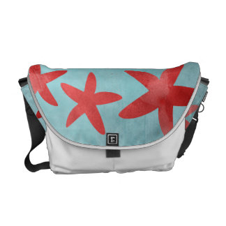 Red and Blue Starfish Messenger Bag
