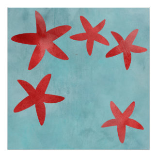 Red and Blue Starfish Poster