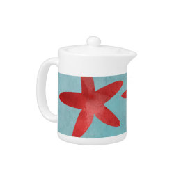 Red and Blue Starfish Teapot