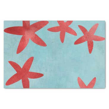 Beach Themed Red and Blue Starfish Tissue Paper