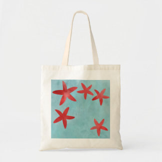 Red and Blue Starfish Tote Bag