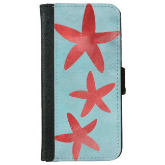 Red and Blue Starfish Wallet Phone Case For iPhone 6/6s