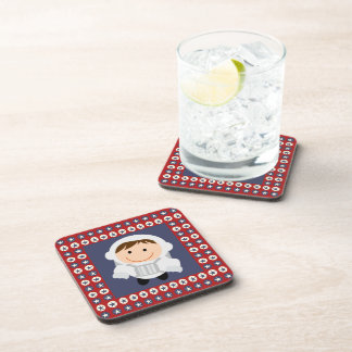 Red and Blue Stars Astronaut Beverage Coaster