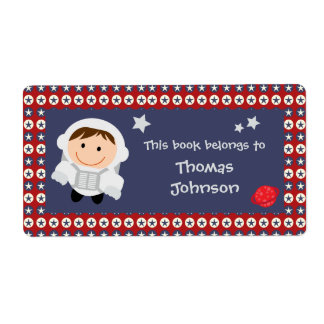 Red and Blue Stars Astronaut Bookplate Labels