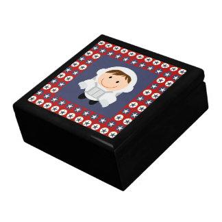 Red and Blue Stars Astronaut Keepsake Box