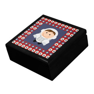 Red and Blue Stars Astronaut Jewelry Box
