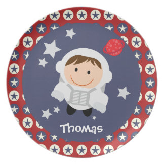 Red and Blue Stars Astronaut Melamine Plate