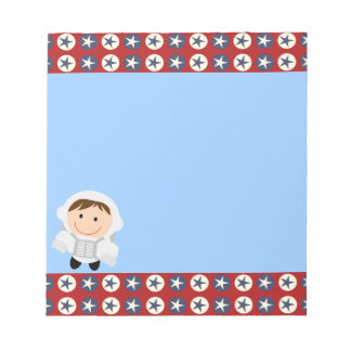 Red and Blue Stars Astronaut Notepad
