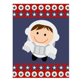 Red and Blue Stars Astronaut Postcard