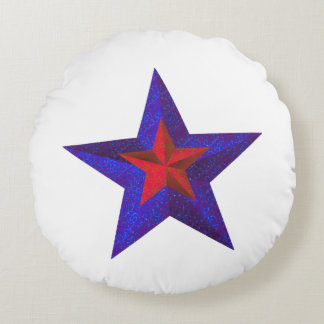 """Red and Blue Stars"" Layered w/ Blue Back [a] Round Pillow"