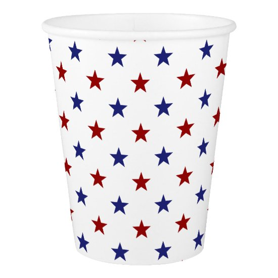 Red and Blue Stars on White Paper Cup