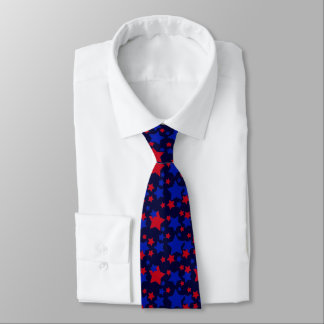 Red and Blue Stars Pattern Neck Tie
