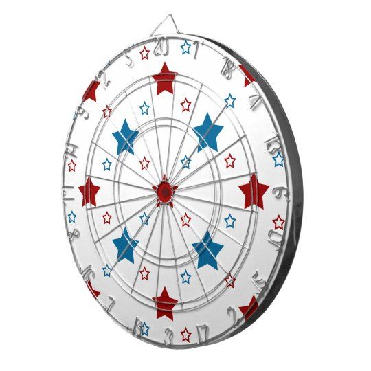 Red and Blue Stars Pattern on White Dart Board