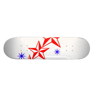 Red and Blue Stars Skateboard Deck
