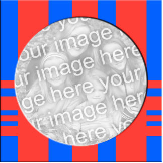 red and blue stiped photo frame statuette
