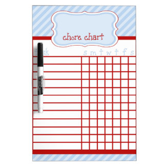 Red and Blue Stripe Chore Chart Dry-Erase Board