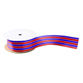 Red and Blue Stripe Satin Ribbon