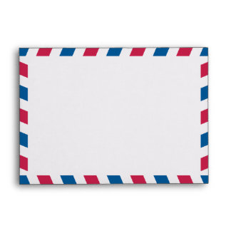 Red and Blue Striped Airmail A6 Envelope