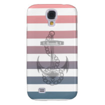 Red and Blue Striped Anchor Samsung Galaxy S4 Case