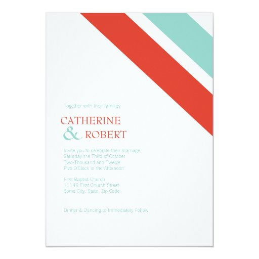 Red And Blue Striped Wedding Invitation