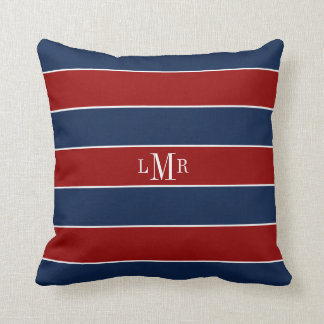 Red and Blue Stripes and Monogram Throw Pillow